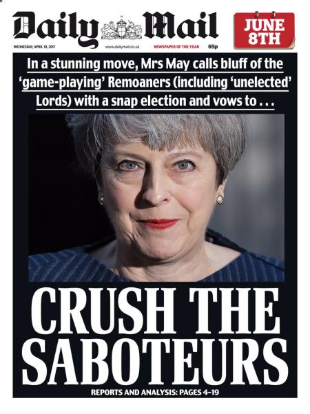 Daily Mail front page with headline crush the saboteurs