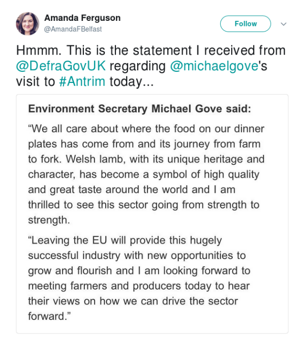 shot of Defra statement for Gove's Antrim visit mentioning Welsh lamb