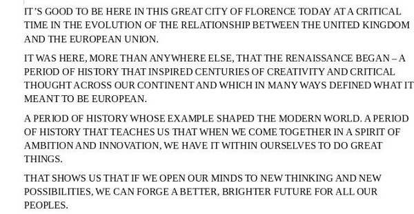 screenshot of start of May's  Florence speech, converted into upper case in LibreOffice