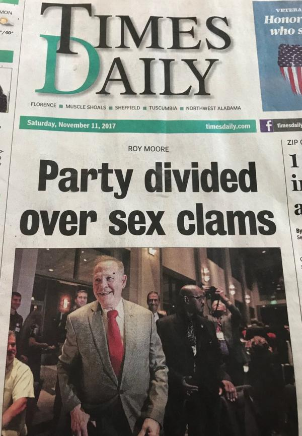 Headline reads party divided over sex clams
