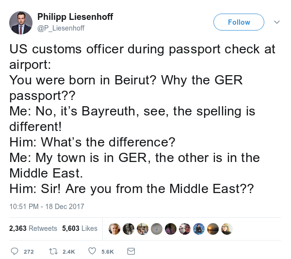 tweet detailing conversation with US customs officer who confuses Bayreuth Germany with Beirut Lebanon