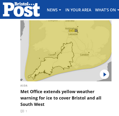 screenshot bearing the wording Asda - Met Office extends yellow weather warning for ice to cover Bristol and South West