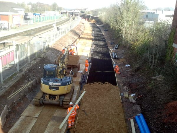 Trackbed preparation works at Lawrence Hill