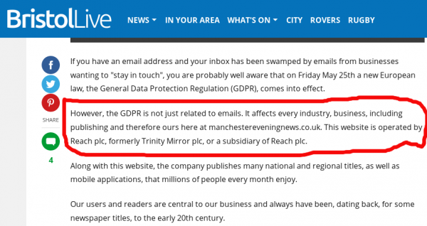 relevant sentence reads: However, the GDPR is not just related to emails. It affects every industry, business, including publishing and therefore ours here at manchestereveningnews.co.uk