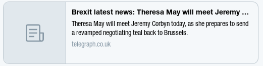 Image text reads Brexit latest news: Theresa May will meet Jeremy Corbyn today as she prepares to send a revamped negotiating teal back to Brussels.