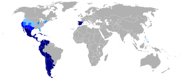 Map of the Hispanophone world