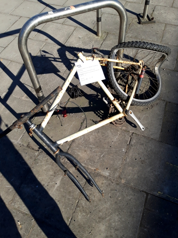Abandoned bike on Lawrence Hill with Bristol Waste removal notice attached