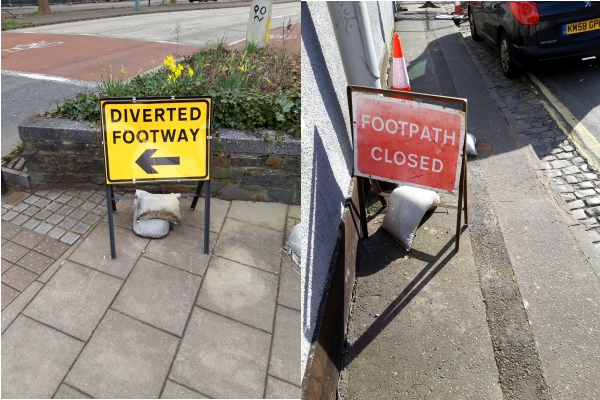 Composite image showing 'Diverted Footway' and 'Footpath Closed' road signs