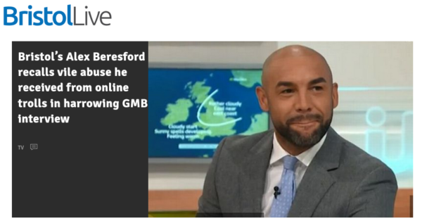 Headline text reads: Bristol's Alex Beresford recalls vile abuse from online trolls in GMB interview