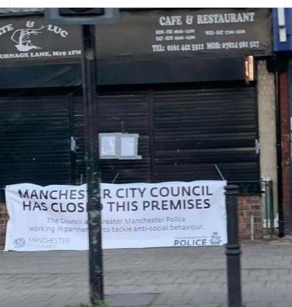 Banner in image reads: Machester City Council has closed this premises