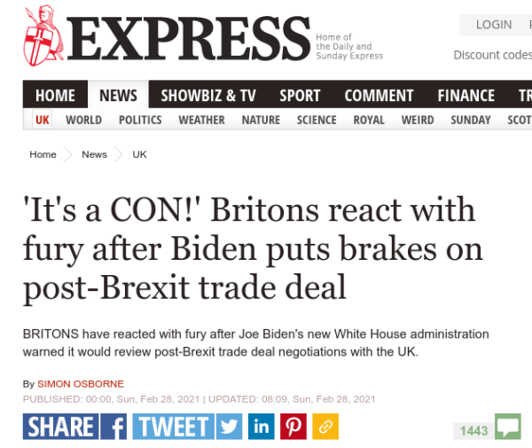 Screenshot of Express website article with headline reading: It's a CON!' Britons react with fury after Biden puts brakes on post-Brexit trade deal