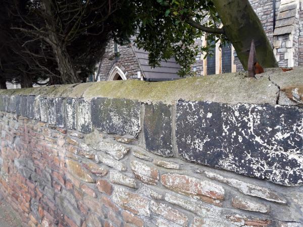 Greek Orthodox Curch wall with slag copings