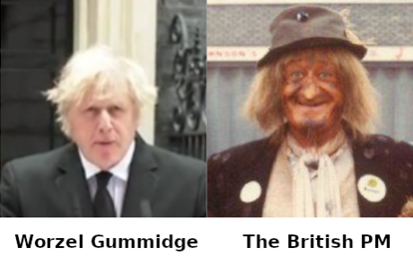 Lookalikes - Boris Johnson and Worzel Gummidge