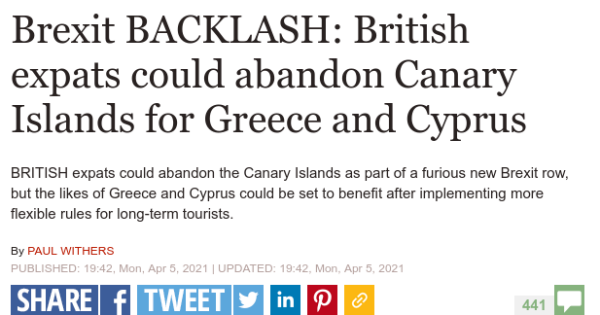 Headline reads Brexit BACKLASH: British expats could abandon Canary Islands for Greece and Cyprus