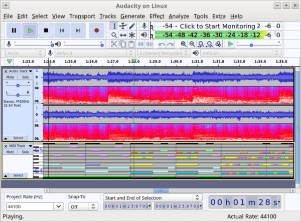 Audacity running on Linux, audio track and MIDI track playing