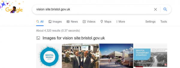 Screenshot of Google search of Bristol City Council website for use of vision