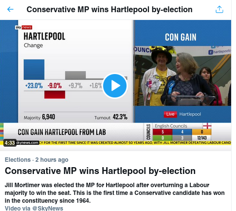 Screenshot from Twitter trends showing the Conservative MP described as an MP instead of a candidate