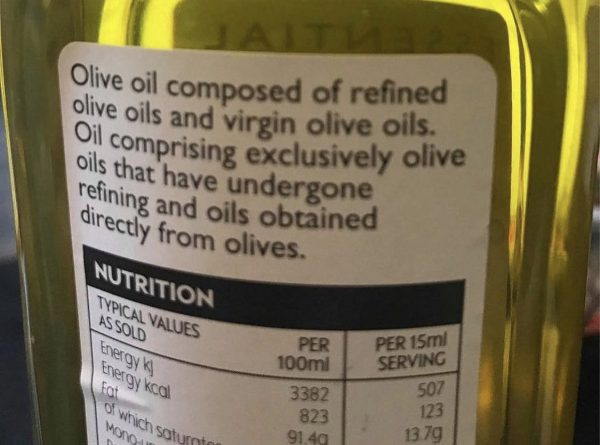 Text reads Olive oil composed of refined olive oils and virgin olive oils. Oil comprising exclusively olive oils taht have undergone refining and oils obtained directly from olives.