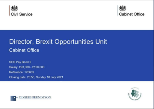 Recruitment advertisement for a Director of the Cabinet Office's Brexit Opportunities Unit