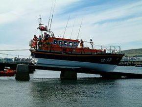 Swanage lifeboat on slipway