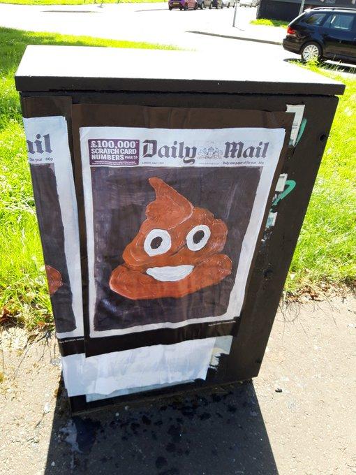 Poster of Daily Mail masthead with bullshit emoji beneath