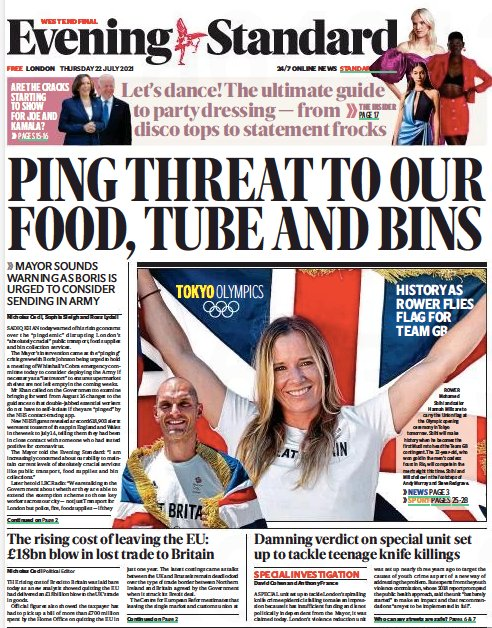 Headline reads Ping threat to our food, tube and bins
