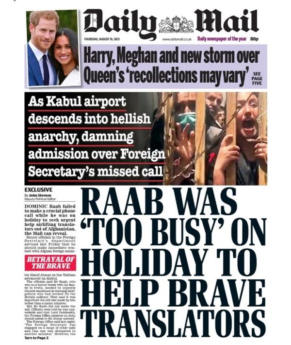 Headline reads Raab was 'too busy' on holiday to help brave translators