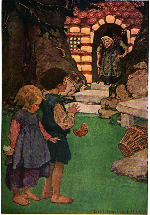 Hansel, Gretel, the witch and the gingerbread house
