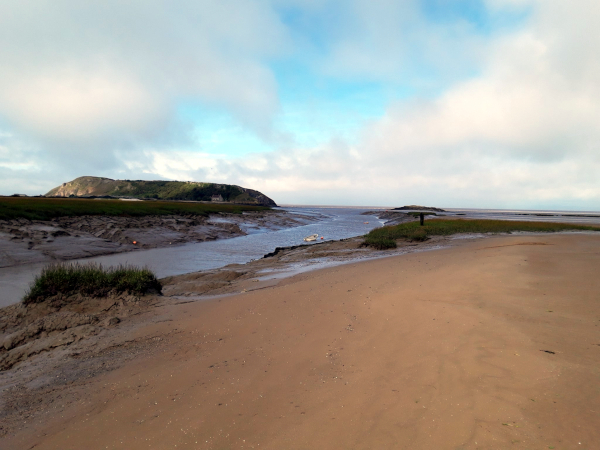 View down the Axe estuary to the Bristol Channel