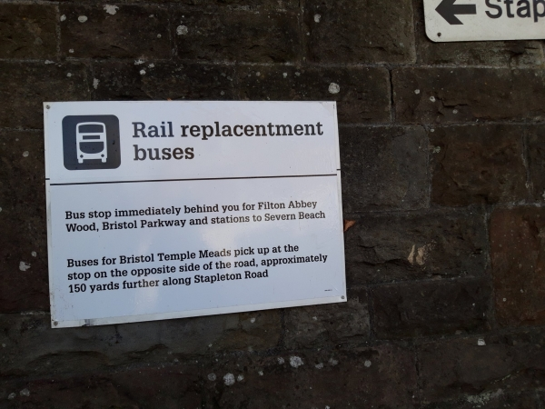 Sign title reads rail replacementment buses