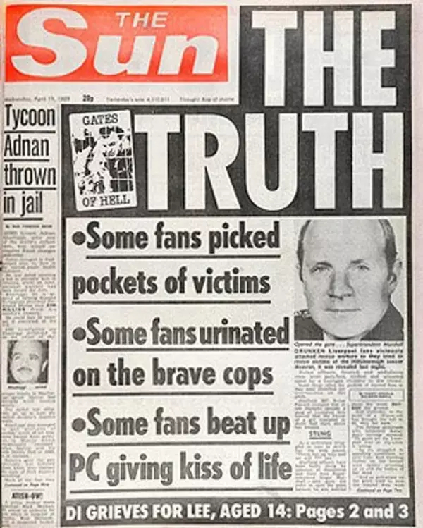 The infamous The Truth Sun front page