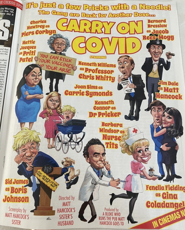 Spoof cinema poster for Carry On Covid