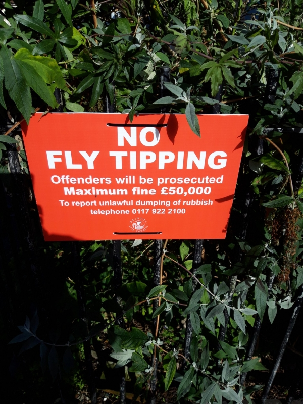 BCC A5 no fly-tipping sign