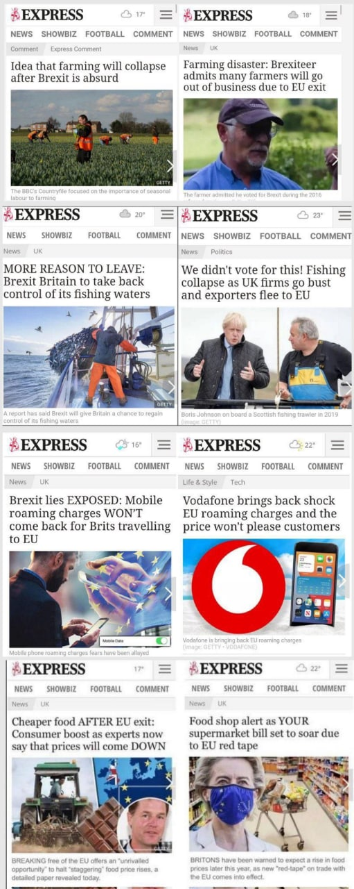 On the left pre-referendum headlines. On the right post-referendum reality headlines